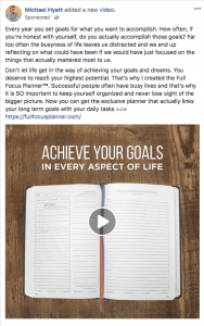 Michael Hyatt Facebook ad Full Focus Planner version 2